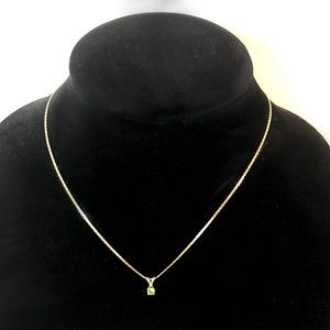 14K GF Chain with Green Solitaire Drop